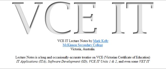 VCE IT Notes